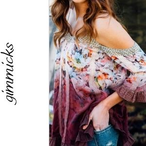 Gimmicks Cream Berry Cold Shoulder Printed Top